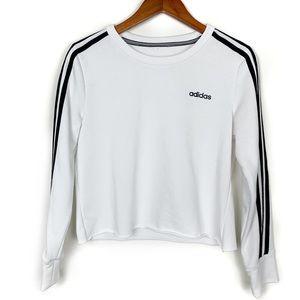 Adidas 3 Stripe White Raw Hem Cropped Crew Sweater